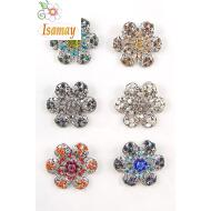 BROCHE PLATA FLOR DOBLE STRASS COLOR