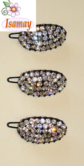 CLIP METALICO NEGRO OVAL STRASS CRISTAL