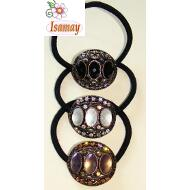 COLETETERO OVAL BRONCE 3 CRISTAL OVAL COLORES