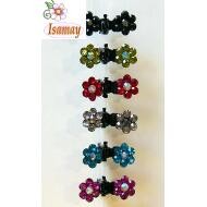 PINZA METAL NEGRA FLOR STRASS COLOR