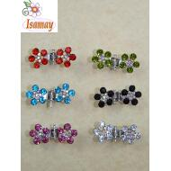 PINZA METAL MINI PLATA FLOR DOBLE COLORES